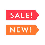 Set of labels for the new and discount item. Red and orange badges Royalty Free Stock Image