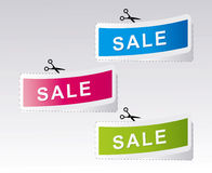 Set of labels for the new, sold out and discount i Stock Photos
