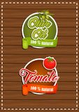 A set of labels olive oil, tomato. Natural product Stock Photo