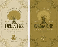 Set of labels for olive oils Royalty Free Stock Photos