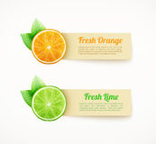 Set of labels with orange and lime stock illustration