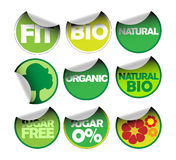 Set of labels for organic Stock Image