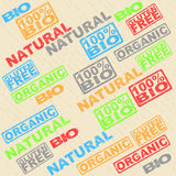 Set of labels - organic, natural, gluten, bio. Set of labels with signs Stock Images