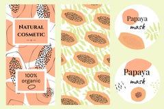 Set of labels for organic papaya cosmetics royalty free illustration