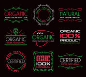 Set of labels for organic products Royalty Free Stock Photography