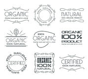 Set of labels for organic products Royalty Free Stock Photos