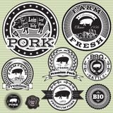 Set of labels with pig and pork Stock Photo