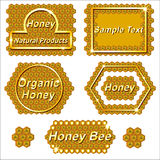 Set of labels for products from honey. Stock Image