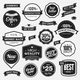 Set of labels and ribbons for sale. Set of vector labels and ribbons for sale royalty free illustration