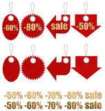 Set of labels on ropes with percent discounts. Royalty Free Stock Photos