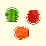 Set of labels - sale, new, free Stock Images