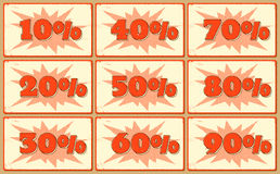 Set of labels with sale percents Royalty Free Stock Image