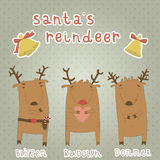Set of labels with Santas reindeer. Blitzen, Rudol Royalty Free Stock Image