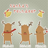 Set of labels with Santas reindeer. Dasher, Dancer Stock Photo