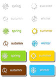 Set of labels with seasons icons Royalty Free Stock Photos