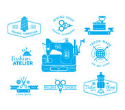 Set of labels with sewing and tailoring symbols. Set of labels with sewing and tailoring symbols, detailed sewing machine illustration royalty free illustration