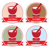Set of labels for spices Stock Photography
