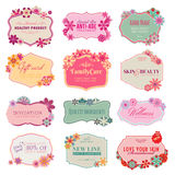 Set of labels and stickers. Set of  labels and stickers for cosmetics, healthcare Stock Image