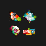 Set of labels, stickers, banners, badges and. Elements for sale. Vector illustration Royalty Free Stock Photos