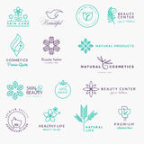 Set of labels and stickers for beauty, natural products, healthcare Royalty Free Stock Photography