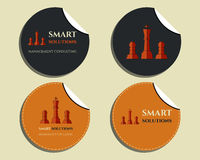 Set of labels - stickers. Chess Smart solutions. Design template. With company logo. Best for management consulting, finance, law companies. Vector illustration royalty free illustration