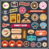 Set of labels and stickers for food. Vector illustration Stock Photography