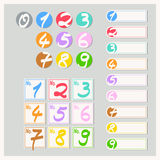 Set of labels and stickers with numbers. Vector illustration Stock Photography