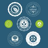 Set of labels and stickers for organic food and drink, and natur. Al products. Vector illustration concepts for web design, packaging design, promotional Royalty Free Stock Images