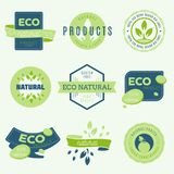 Set of labels and stickers for organic food and drink, and natur. Al products. Vector illustration concepts for web design, packaging design, promotional Stock Photos