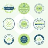 Set of labels and stickers for organic food and drink, and natur. Al products. Vector illustration concepts for web design, packaging design, promotional Royalty Free Stock Image