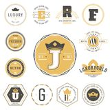 Set of labels and stickers for organic food and drink, and natur. Al products. Vector illustration concepts for web design, packaging design, promotional Royalty Free Stock Photos