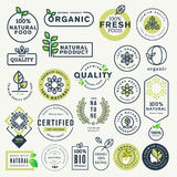 Set of labels and stickers for organic food and drink, and natural products Stock Photography