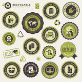 Set of labels and stickers for recycling Royalty Free Stock Photography