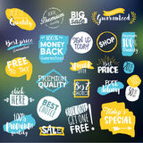 Set of labels and stickers for sale, shopping, e-commerce and products promotion Stock Image