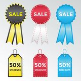 Set of labels and stickers for sales. Vector Illustration Royalty Free Stock Photo