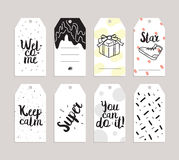 Set of labels, stickers or tags. Cards for journaling. Inspirational quotes. Usable as invitations, greetings, planner royalty free illustration