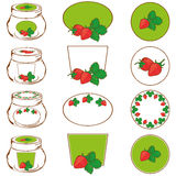 Set of labels  strawberry jam Stock Image