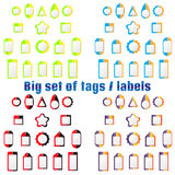 Set of labels, tags of various shapes and colors. For design of labels, tags on clothes, goods, wares. On field for text. For sales and shares Stock Photo