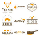 Set of labels templates and logo of butchery meat Royalty Free Stock Photos