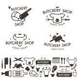 Set of labels templates and logo of butchery shop Royalty Free Stock Images