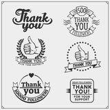 Set of labels with thank you. stock illustration