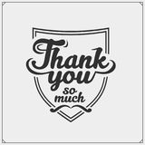 Set of labels with thank you. Vector illustration. stock illustration