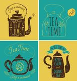Set of labels on theme tea. Tea logo. Hand made Royalty Free Stock Photography