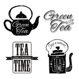 Set of labels on theme tea. Tea logo. Royalty Free Stock Photos