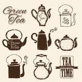 Set of labels on theme tea. Tea logo. Stock Photography