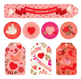 Set of labels to celebrating Valentine`s day in red shades. Royalty Free Stock Photography