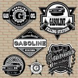 Set of labels on the topic gasoline. Set of vector labels on the topic gasoline vector illustration