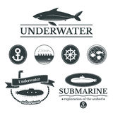 Set of labels with underwater illustrations Royalty Free Stock Photography