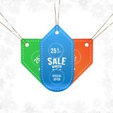 Set labels winter sale tag with special offer 25 off. Vector element for Merry Christmas and Happy New Year.  stock illustration