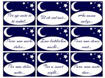 Set of labels with words For a sweet night Royalty Free Stock Photography